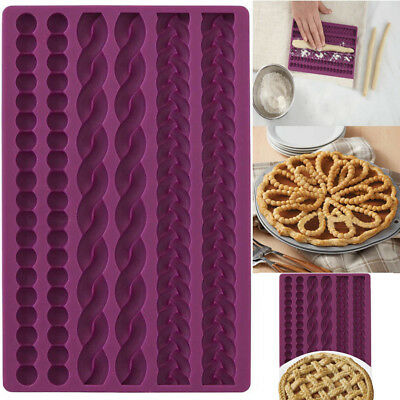 3D Knit Rope Silicone Pearl Fondant Mould Cake Border Sugar Icing Gumpaste Decor