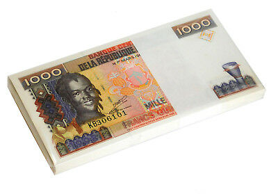 GUINEA 1,000 1000 FRANCS 1998 P 37 UNC (BUNDLE of 100 CONSECUTIVE NOTES)