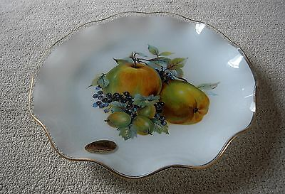 Vintage British Chance, Fluted Gold Rimmed Glass Plate Decorated With Fruit