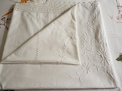 Antique White Cotton Hand Made Emroidered Double Bedspread 230Cm X 220Cm