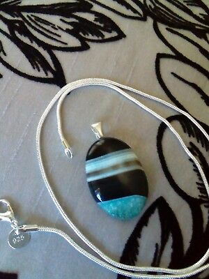 blue branded agate hand made pendant and a 925 chain