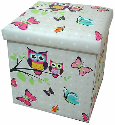 Owl and Butterfly Folding Storage Box and Seat