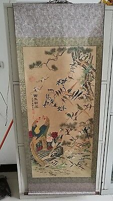 old superb Chinese long Scroll Painting Song of the Phoenix 152x67 cm 百鸟朝凤