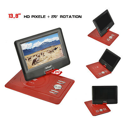 "NEW! ieGeek 13.8"" Portable DVD Player Swivel 16:9 Screen USB SD Game Playback DE"