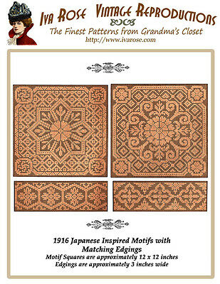 1916 Filet Lace Chart Pack - Japanese Inspired Motifs