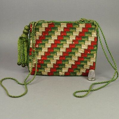 Antique 19th Century Reticule Purse Woolwork Canvas Work Embroidery C 1830 AF