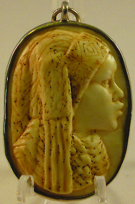 African Tribal Woman Large Onyx Stone Cameo Pendant in Sterling (.950 Purity)