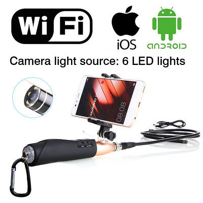 Newest ! 1M Rigid WIFI Endoscope Inspection Snake Scope Camera for Iphone + Gold