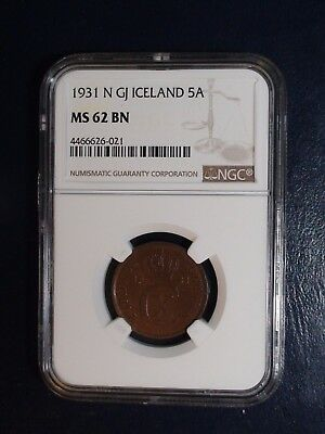 1931 N GJ Iceland Five Aurar NGC MS62 BN 5A Coin PRICED TO SELL NOW!