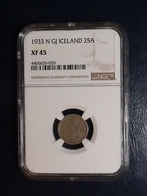 1933 N GJ Iceland Twenty Five Aurar NGC XF45 25A Coin PRICED TO SELL NOW!