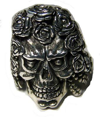 DELUXE SKULL HEAD W ROSE HAIR BIKER RING #BR125 MENS WOMENS jewelry SILVER NEW