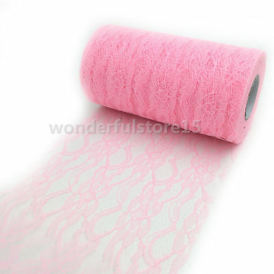 10YD Lace Net Roll Runner Mesh Chair Sash Tie Wedding Party Table Decor Pink