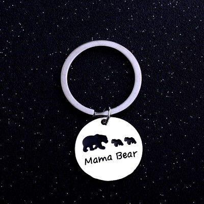 Cute Mama Two Bear Baby Keyring Keychain Key Chain Jewelry Kid Mother Family