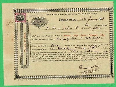 Promissory Note for $72.50 issued 1919 at Tg Malim, Perak; 10c FMS stamp