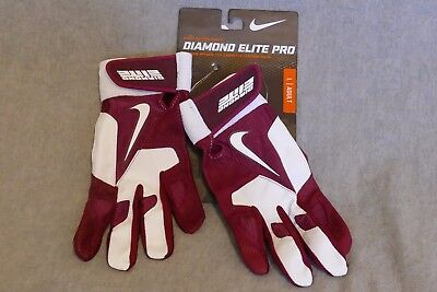 Nike Diamond Elite Pro Baseball Batting Gloves Maroon Burgundy GB0335 602 Size L