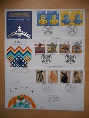 GB 1990 RSPCA, Europa and Export and Technology First Day Covers