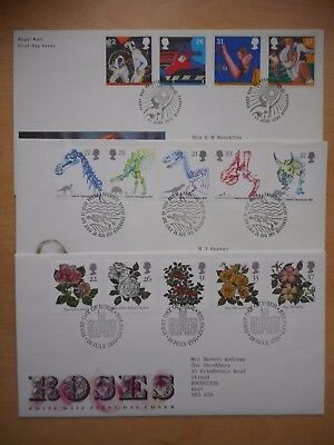 GB 1991 Sports, Roses and Dinosaurs First Day Covers