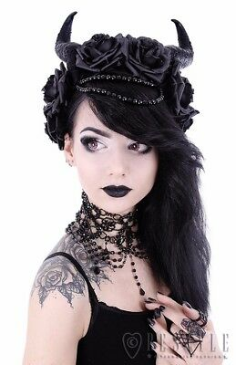 Restyle Evil Queen Horns, Beads, Roses Headpiece Headband Gothic Witchy Occult
