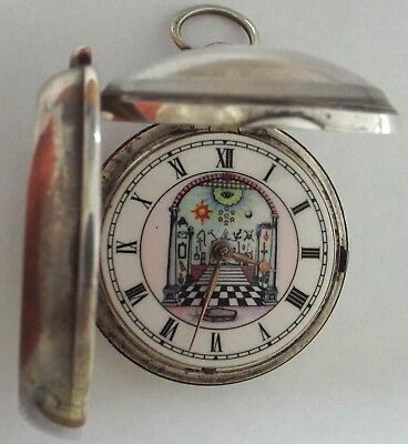 Rare Large Picture Dial Masonic Symbols Silver  P/case Verge Fusee  Working