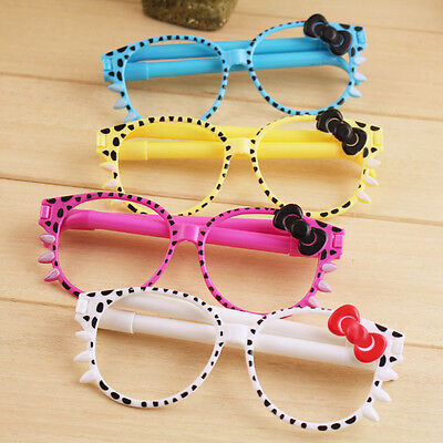 Randomly Lovely Girls Bling Bowknot Glasses Frame Shape Ball-point School Pen UK