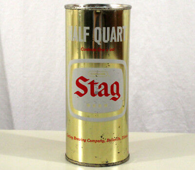 Stag Half Quart 16 Ounce Juice Tab Beer Can Carling Belleville, Illinois Pulltab