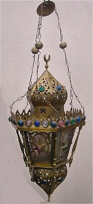 Vintage Genuine Middle Eastern Brass with Glass Panelled Candle Lantern