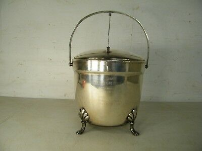 Silver Plate Vintage Crescent Paw Foot Ice Bucket