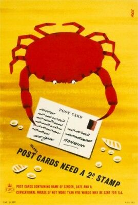 1950's Original GPO Poster P.R.D.753 - POST CARDS NEED A 2d STAMP - Haas