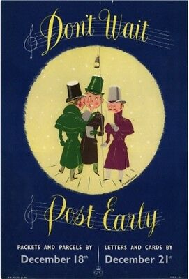 1950's GPO Poster P.R.D. 766 - DON'T WAIT POST EARLY for Christmas - Custerson