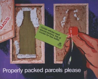 1960's GPO Poster P.R.D. 1651 - Properly Packed Parcels Please - Wine Bottle