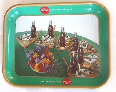 1957 French, Serve Coca-Cola, Heavy Sandwich Tray, Sign of Good Taste. Original