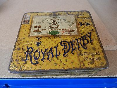 Vintage Royal Derby Gold Tipped Cigarette tin for 100 cigarettes scarce