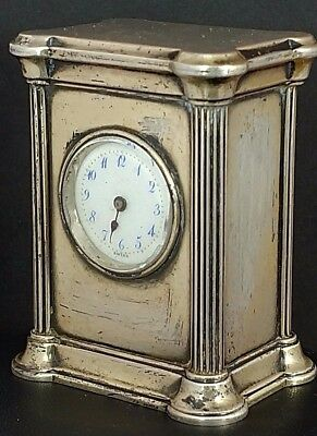 Antique Art Deco Miniature Sterling Silver Travel Clock Concord Watch Co