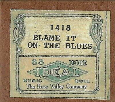 Blame It on the Blues, Rag, Chas L Cook Ideal 1418 Piano Roll recut