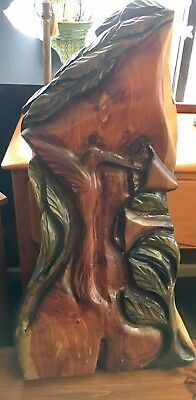 "VINTAGE SOLID WOOD HAND CARVED LARGE Hummingbird 36"" TALL"