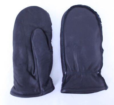 Mens Lined Cowhide Synthetic Lamb Wool Insulated Black Mittens Size L, XL, XXL