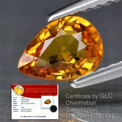 Clean! 0.88ct 6.7x5mm Pear Natural Yellow Sapphire Songea, Tanzania *Certified