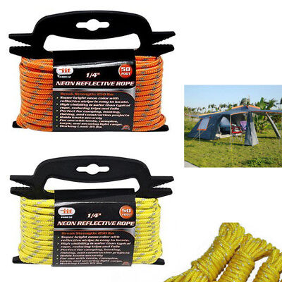 """1/4"""" Neon Reflective Guyline Camping Tent Tarp Rope 50' Line Cord Paracord Guide"""