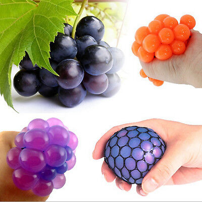1Pcs Anti Stress Face Reliever Grape Mesh Ball Mood Squeeze Relief Healthy Toy +