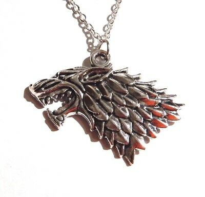 SILVER DIRE WOLF NECKLACE Game of Thrones House Stark Sigil Sansa pendant GoT O1