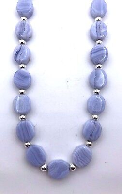 Silver and Blue Lace Agate Navajo Necklace Nugget Native American Handmade  *844