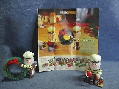 Hershey's Reese's Chocolate Christmas Ornaments Elves Painter and Holding Wreath