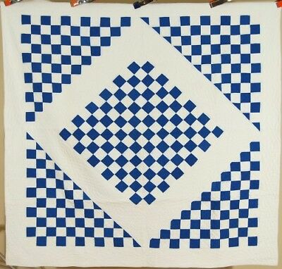 ELEGANT Vintage 30's Blue & White Boston Commons Checkerboard Antique Quilt!