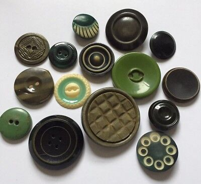 Lot of 15 Vintage Antique Celluloid Plastic Button Tight Top Buffed Bubble Wafer