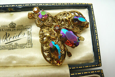 Vintage Czech Art Deco Rhinestone Fly Bee Bug Insect Brooch Pin Stunning