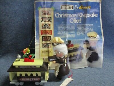 Hershey's Reese's Chocolate Christmas Ornaments Elf Holding Candy & Trolley 1987