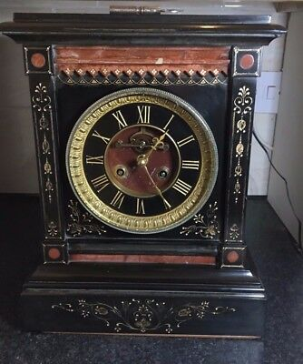 Magnificent Victorian Inlaid Black Marble Slate Clock Circa 1880