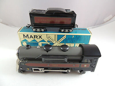 Marx Trains Tinplate Canadian Pacific Steam Locomotive #3003 And Tender #8341
