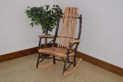 A&L Furniture Co. Amish-Made Hickory Large 9-Slat Rocking Chair, in 3 Finishes