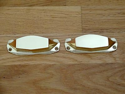 2 X Brass Art Deco Door Or Drawer Pull Cup Handles Cupboard Furniture Knobs